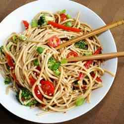 Asian Style Garlic Sesame Pasta Salad
