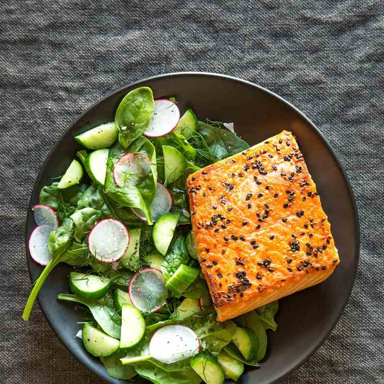 Sesame Salmon with Cucumber Salad