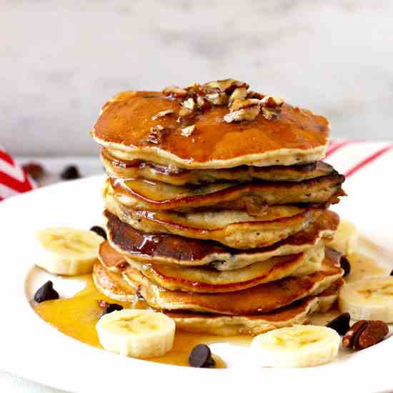 Chocolate Chip Banana Pancakes with Maple