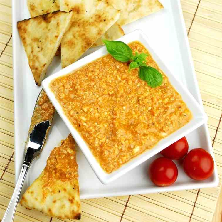 Spicy Tomato-Feta Dip with Grilled Pitas