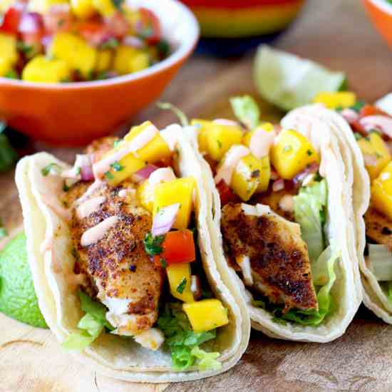 Blackened Fish Tacos - Mango Salsa