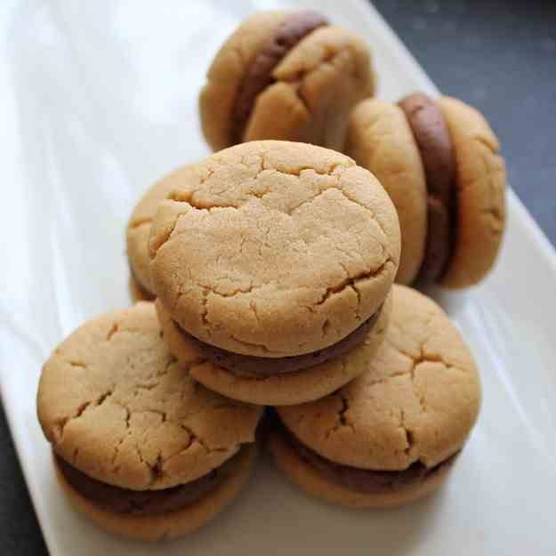 Peanut Butter Cookies with Whipped Ganache