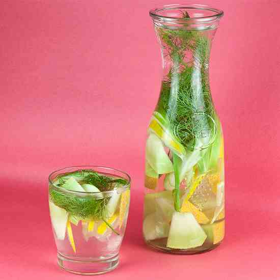 Dill, melon, lemon and apple detox water