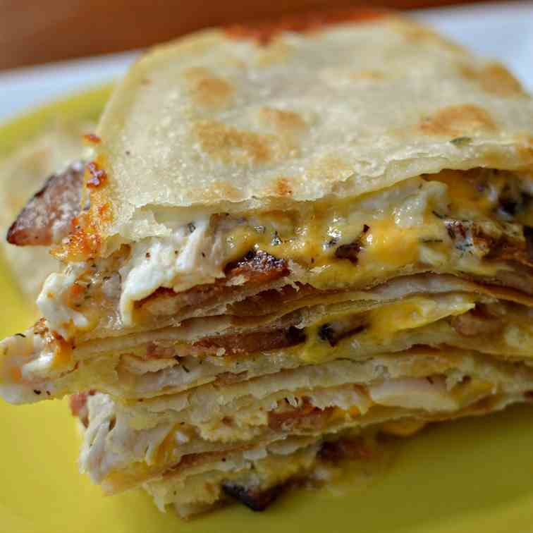 Chicken Quesadilla with Bacon and Ranch