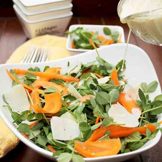 Pea shoot, mint and carrot salad