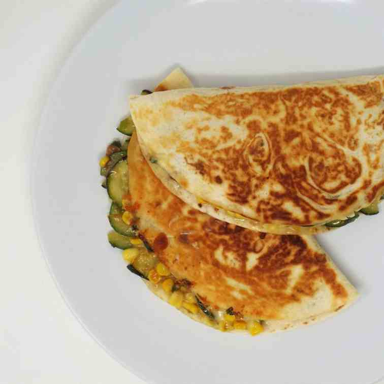 Spicy Corn and Zucchini Quesadillas