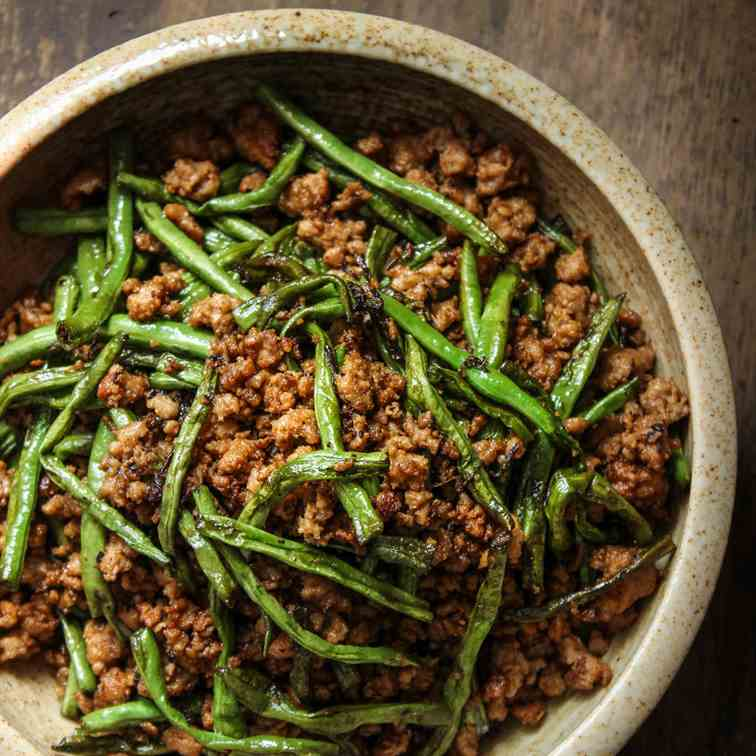 Dry-Fried Long Beans and Minced Pork