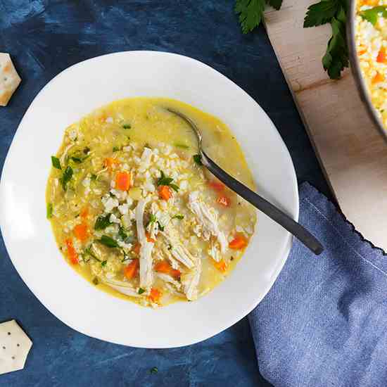 Chicken Cauliflower Rice Soup