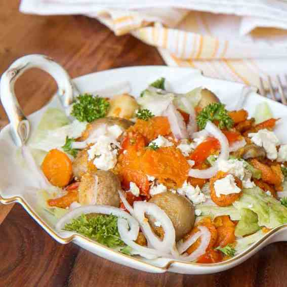 Roasted Vegetable and Oat Salad with Feta