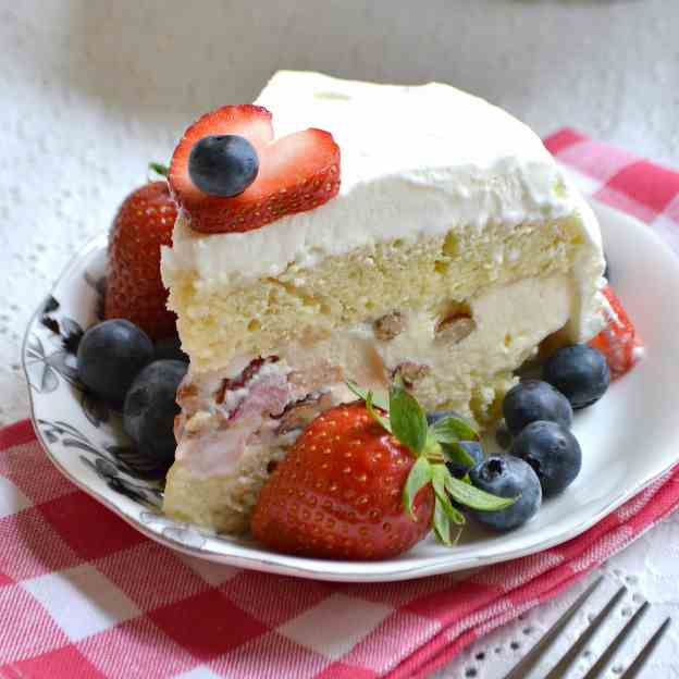 Strawberry Pecan Ice Cream Cake