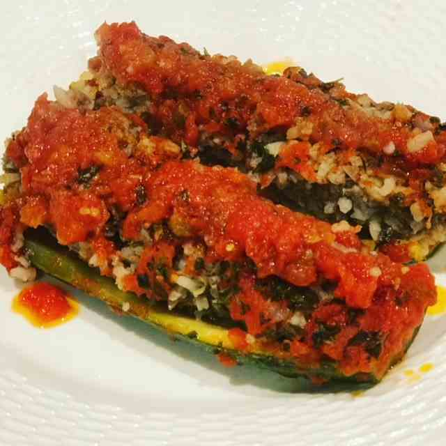 Lamb - Rice Stuffed Zucchini