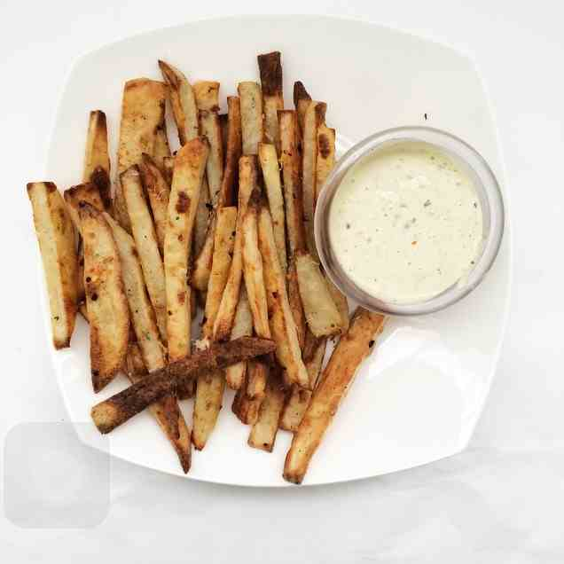 Oven Baked French Fries with Garlic Aioli