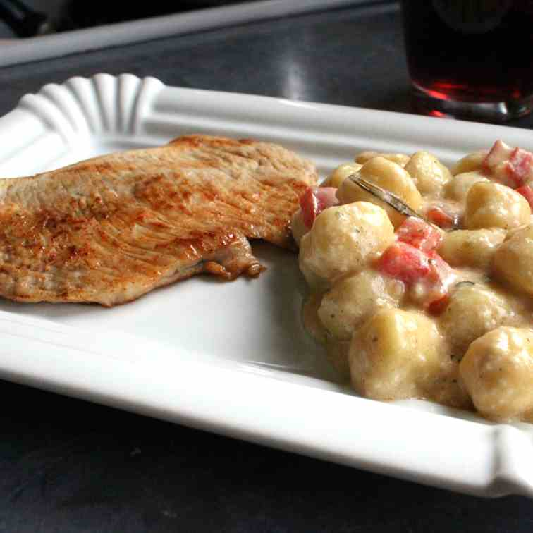 Turkey Schnitzel with Gnocchi and Gorgonzo