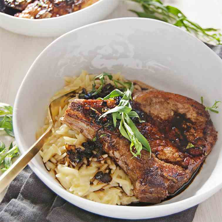 Seared Pork Chops with Balsamic and Orzo