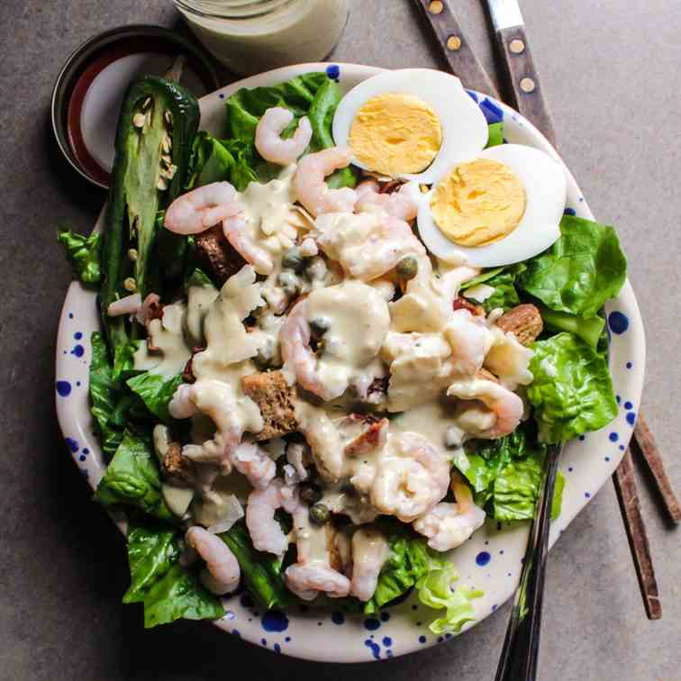 Spicy Caesar Salad with Shrimp and Eggs