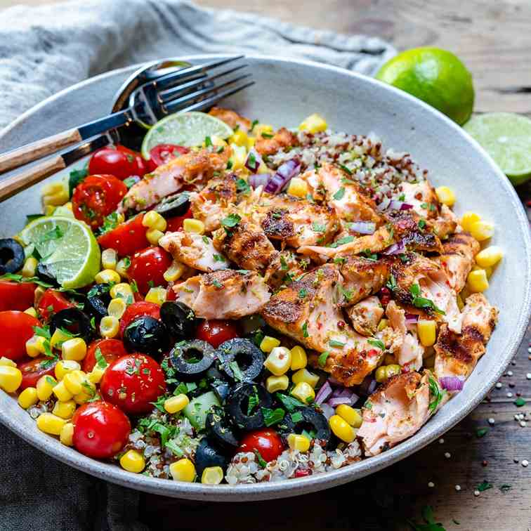 Grilled Salmon Bowl With Vegetables