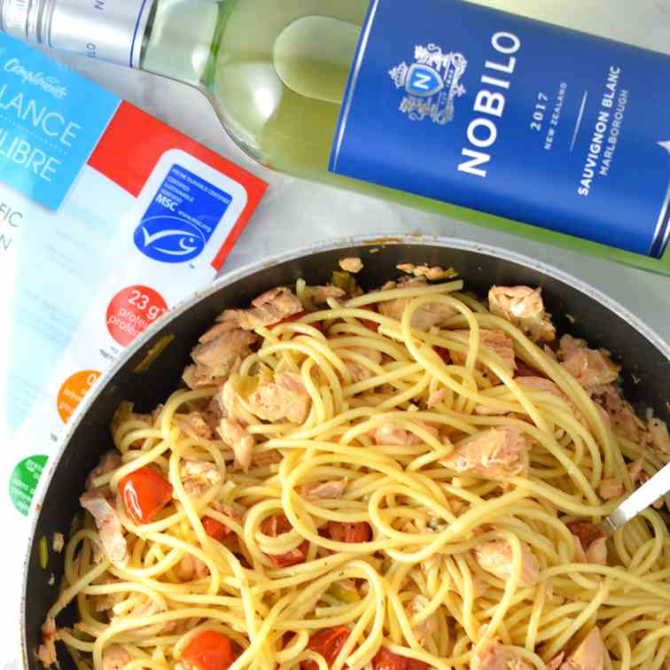 Salmon Pasta in White Wine Sauce