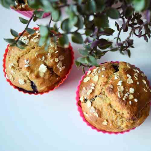 Healthy berry muffins with almonds