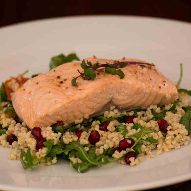Poached Salmon with Bulgur Salad
