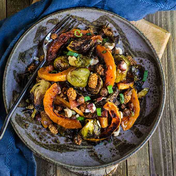 Roasted brussels sprouts and squash salad