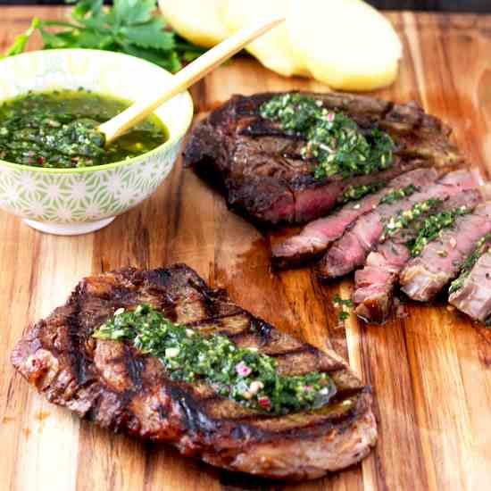 Grilled Rib-Eye Steaks with Chimichurri