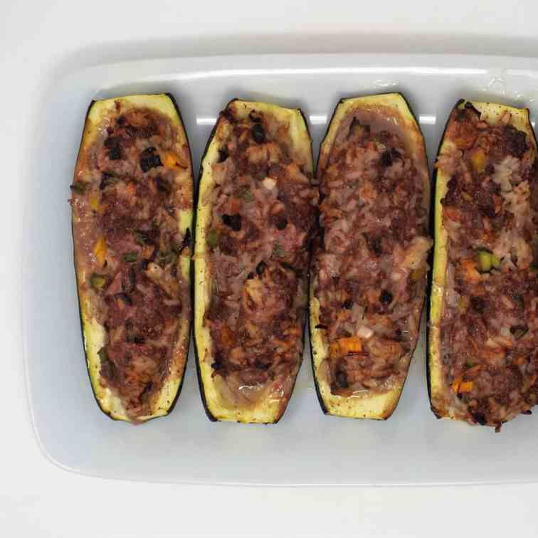 Beef and Rice Stuffed Zucchini