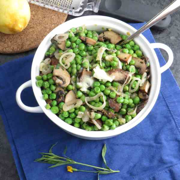 peas with shallots and mushrooms