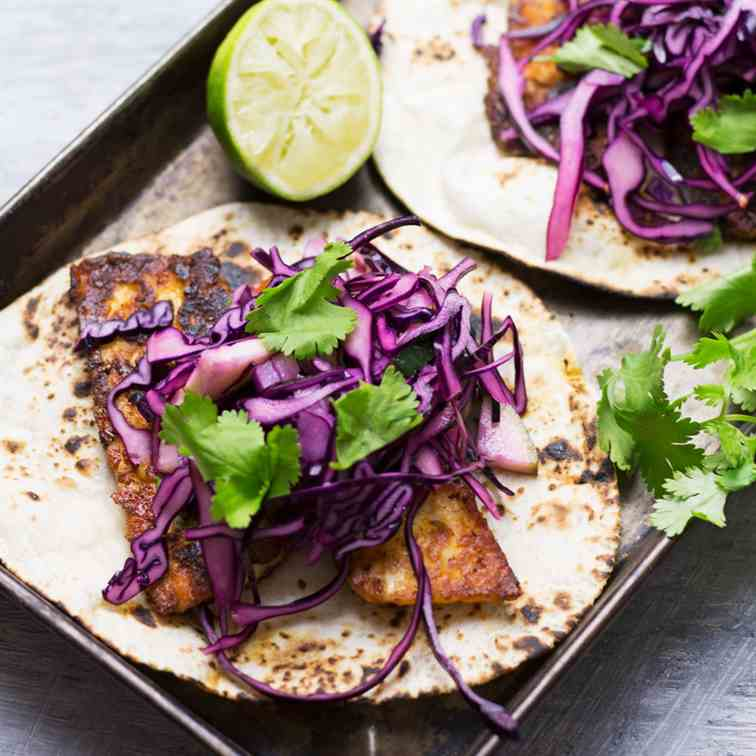 Halloumi Tacos with Cabbage Slaw