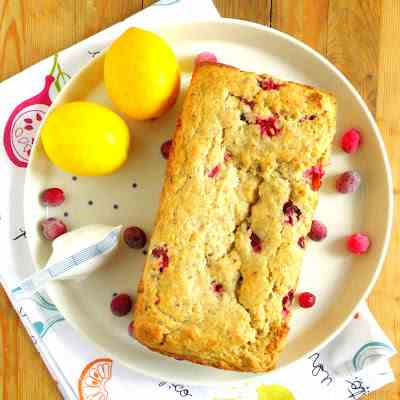 Vegan Lemon & Cranberry Bread