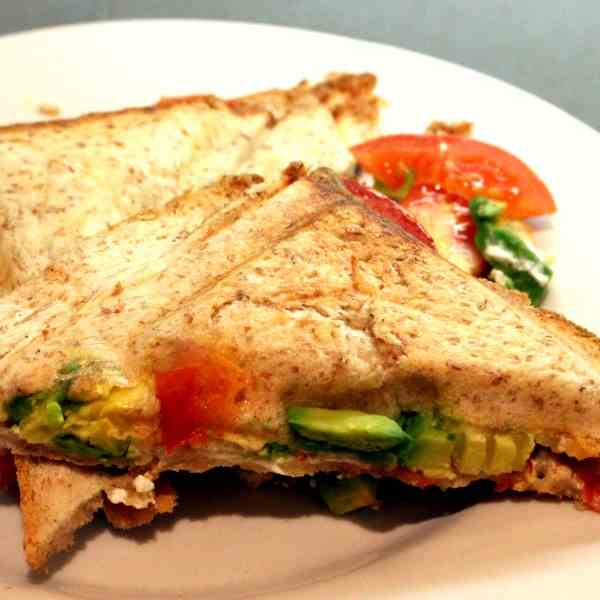 Avocado Tomato Sandwich, grilled