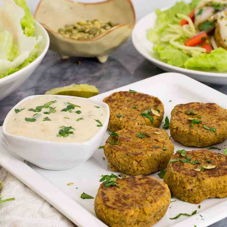 Curry Salmon Cakes with Cilantro Lime Yog
