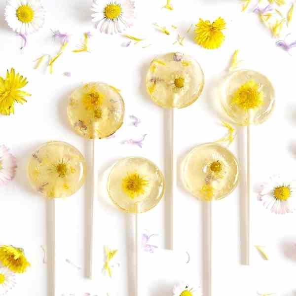 Honey - Lemon Floral Lollipops
