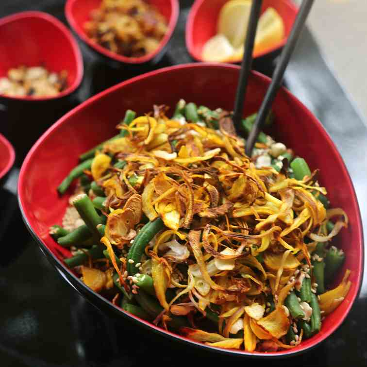 Burmese Green Bean Salad (OIl-Free)