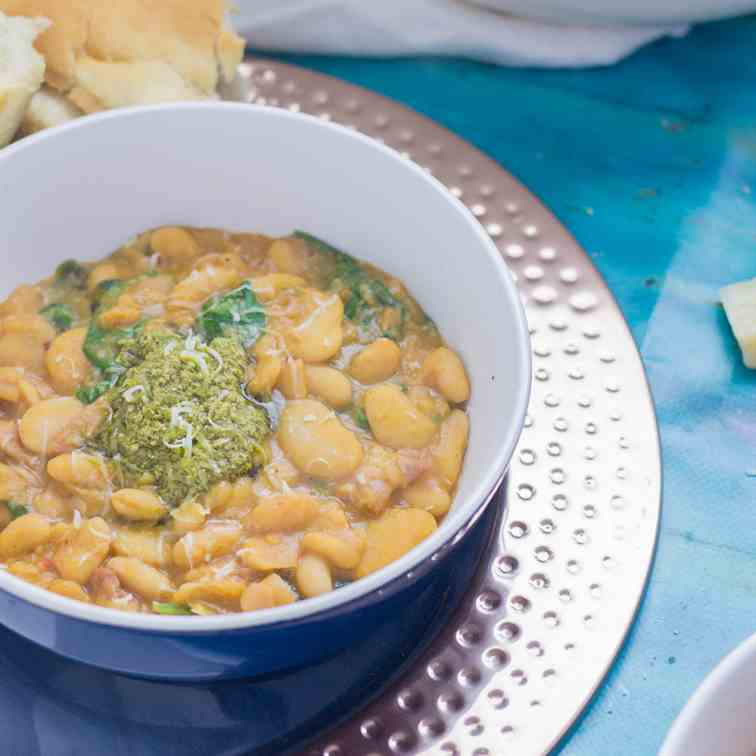 Creamy White Bean Stew With Pesto
