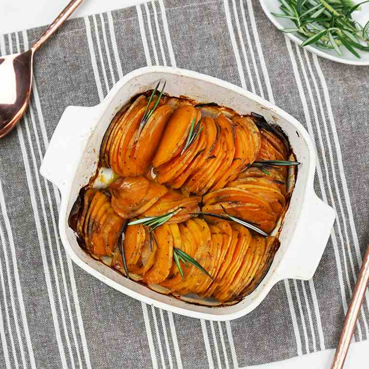 Roasted hasselback sweet potatoes