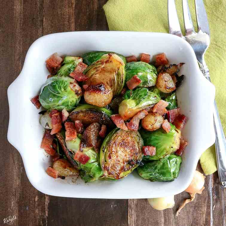 Skillet Brussel Sprouts, Bacon and Onions