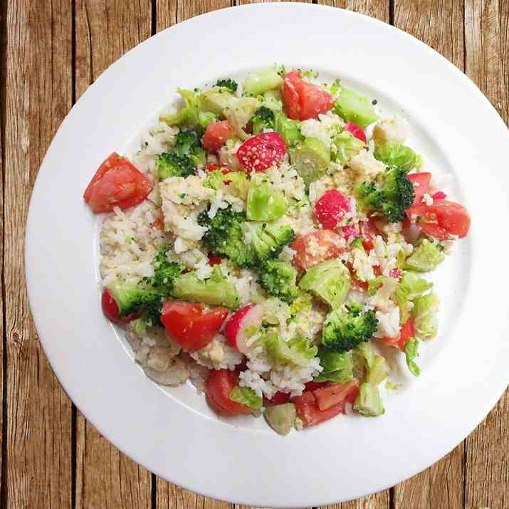 Broccoli Sprouts Tomato Rice Meal Salad