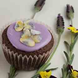 Brownie Cupcakes with Lavender Icing