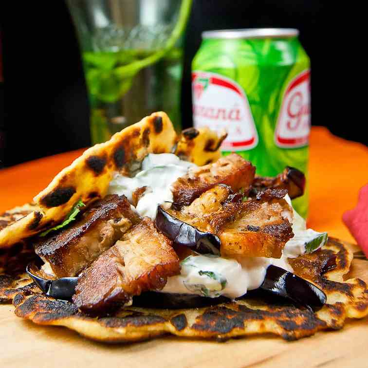 Crispy pork belly gyros of many traditions