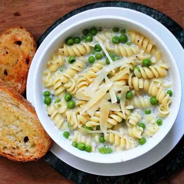 Parmesan Soup with Tiny Pasta and Peas
