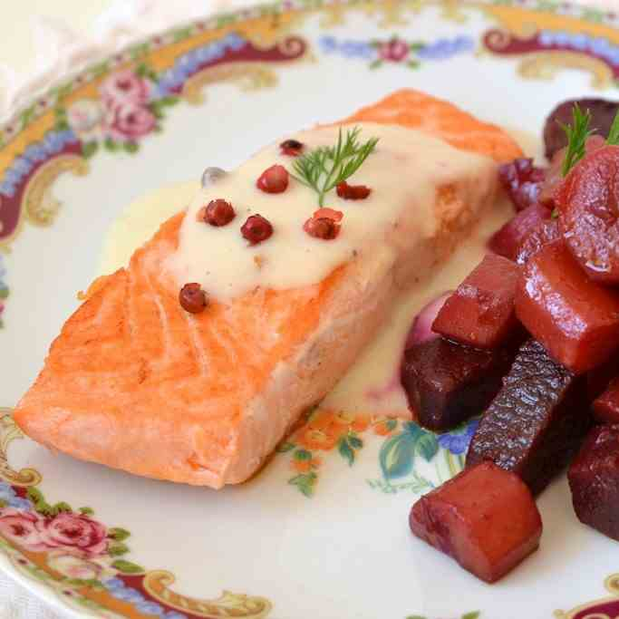 Healthy and creamy salmon pavé