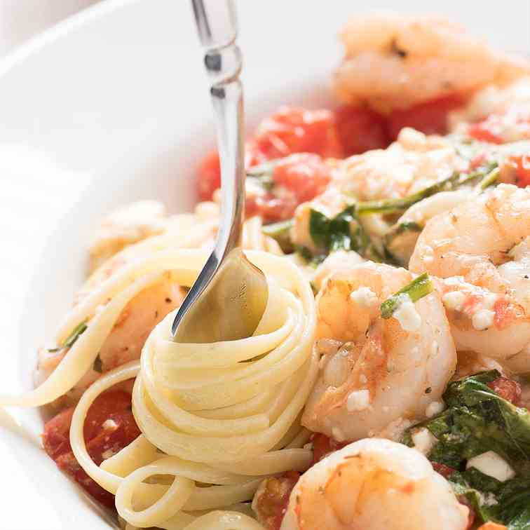 Spicy Shrimp Pasta with Feta - Tomatoes
