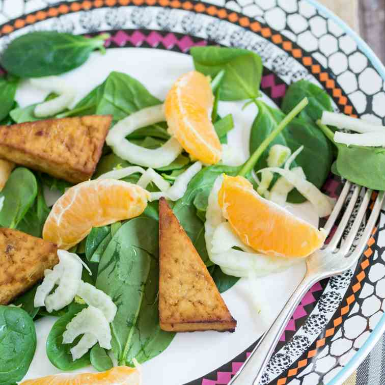 Baked Tofu, Fennel and Mandarin Salad