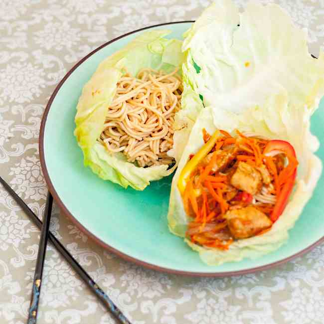 Chicken Chow Mein Cabbage Wraps