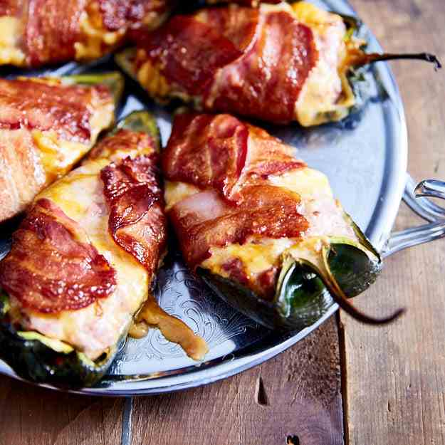 Smoked stuffed poblano peppers