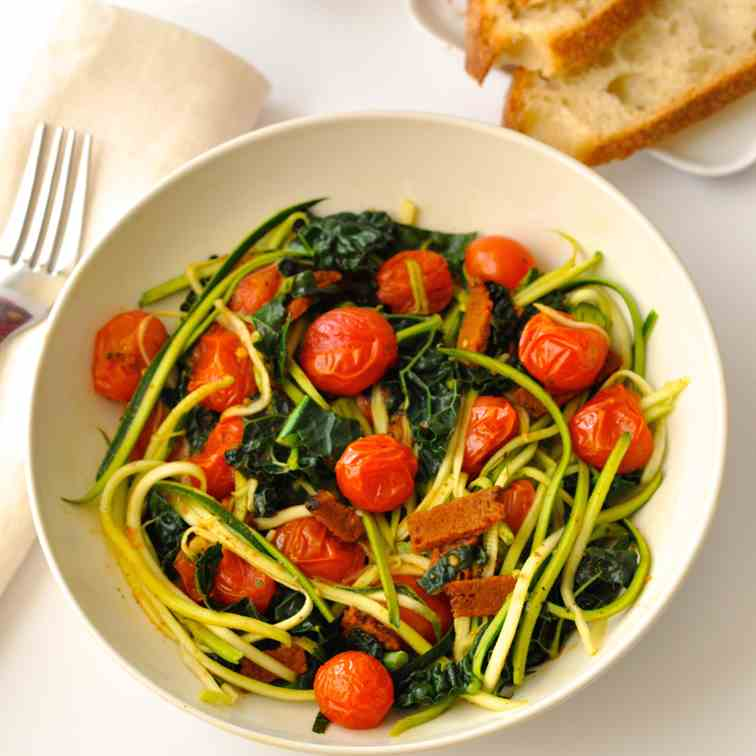Zoodles with Vegan Bacon, Tomatoes - Kale