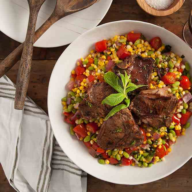 Marinated Lamb Chops with Sweet Corn Succo