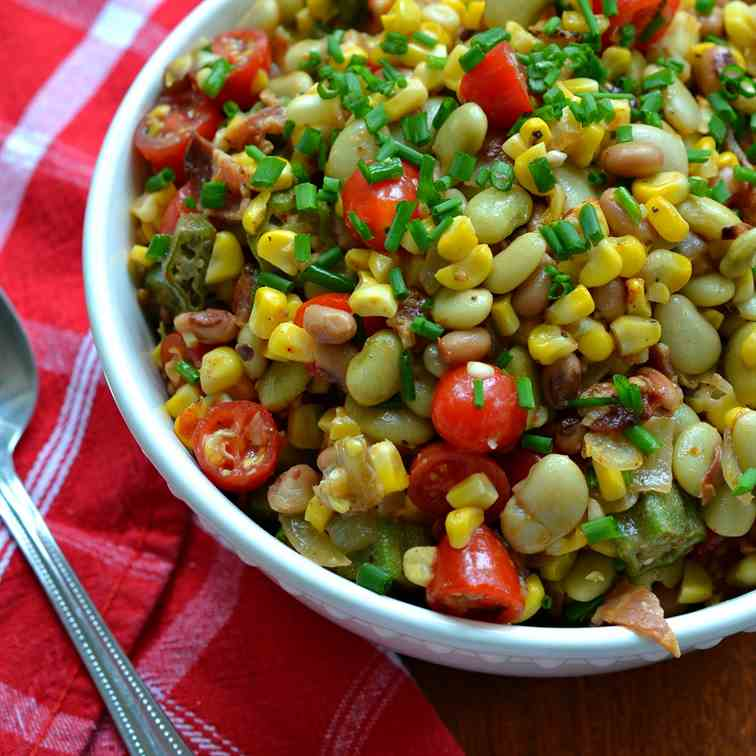 Summer Succotash with Bacon and Okra