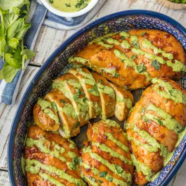 Peruvian Chicken with Green Sauce