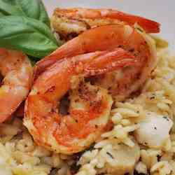 Grilled Prawns with Orzo